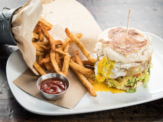 The burger is on the brunch menu at South + Pine