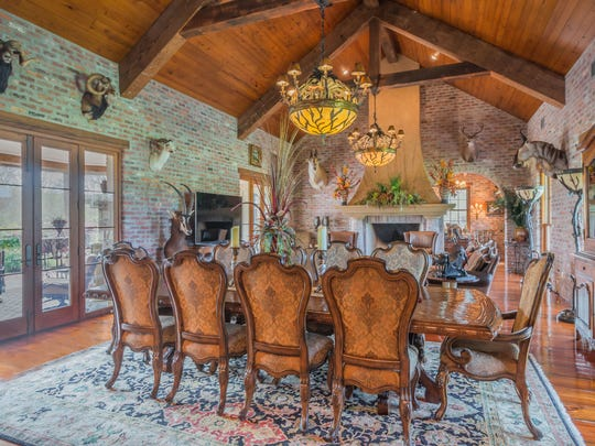 The dining room is large and inviting.