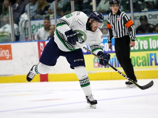 Everblades forward Steven Lorentz shoots during the
