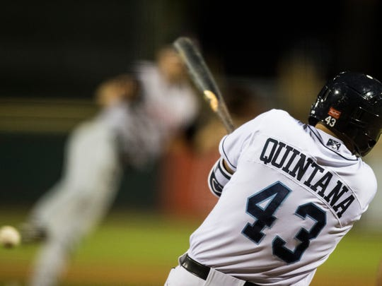 Hooks' Lorenzo Quintana hits the ball against the Arkansas Travelers during their game on Monday, April 16, 2018 at Whataburger Field.