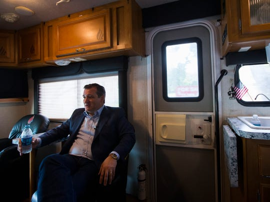 U.S. Sen. Ted Cruz rides in his campaign bus following an event Tuesday, April 3, 2018 at the Ortiz Center in Corpus Christi.