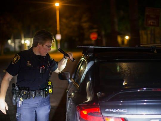 DWI officer Samantha Baldwin stops a driver for speeding