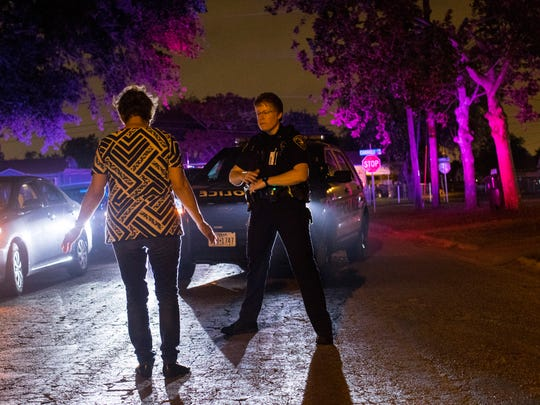 DWI officer Samantha Baldwin performs a field sobriety