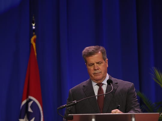 Karl Dean (D) at the Rural Tennessee Gubernatorial Forum at Lane College in Jackson, TN on April 17, 2018.