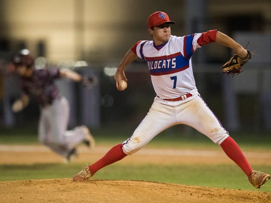 Gregory-Portland's Isaac Ponce pitches the ball during their game against Calallen on Tuesday, April 17, 2018 at Gregory-Portland.