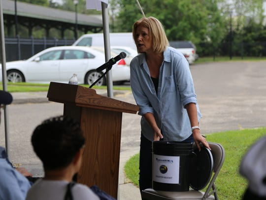 Jeri Bush of Volunteer Leon discussing what should go in a Disaster Bucket.