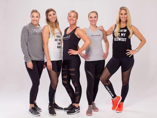 Left to right, Sweat Cosmetics co-founders Courtney Jones Louks, Taryn Hemmings, Emily Hines, Lindsay Tarpley Snow, Leslie Osborne Lewis.