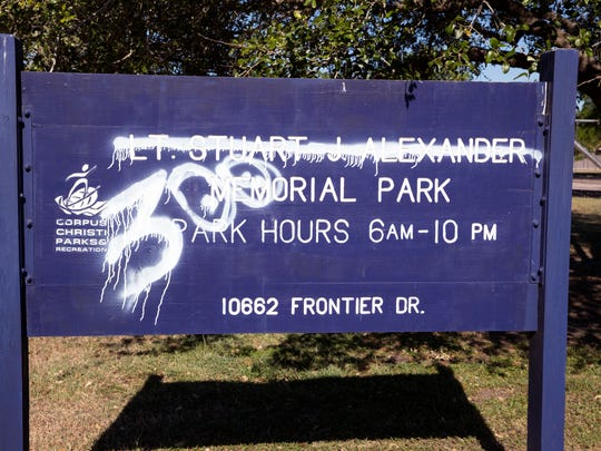 The park sign named for Corpus Christi Police Lt. Stuart Alexander has been tagged. Lt. Alexander was murdered by Daniel Lee Lopez in March 2009. Alexander was standing in a grassy area on the side of a highway where he had laid down spike strips to try to stop Lopez, who was fleeing from other officers.