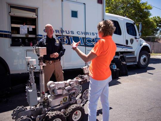 Corpus Christi Police Senior Officer Bernie Moss (left)