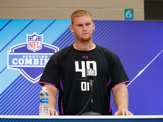 Mar 1, 2018; Indianapolis, IN, USA; Auburn Tigers offensive lineman Braden Smith speaks to the media during the 2018 NFL Combine at the Indianapolis Convention Center. Mandatory Credit: Brian Spurlock-USA TODAY Sports
