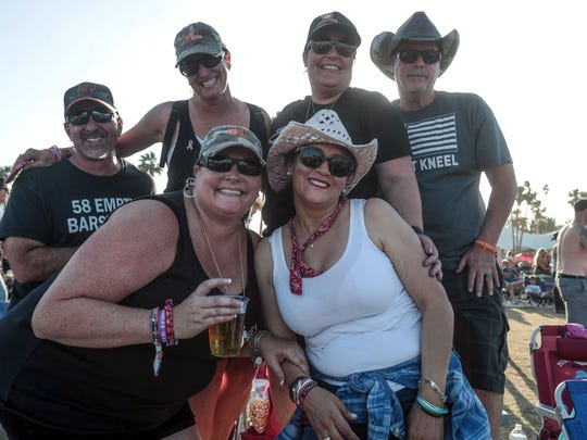 Apr 27, 2018; Indio, CA, USA; About 600 survivors of the 2017 Route 91 Harvest festival mass shooting in Las Vegas attend the Stagecoach Country Music Festival at Empire Polo Club.  Mandatory Credit: Richard Lui/The Desert Sun via USA TODAY NETWORK