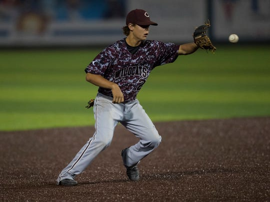 Calallen's Luke Smith fields the ball during the District 30-5A championship series against King on Thursday, April 26, 2018 at Cabaniss Field.
