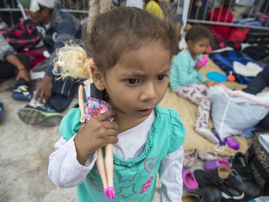 Central American migrant children outside the San Ysidro port of entry in April, 2018.