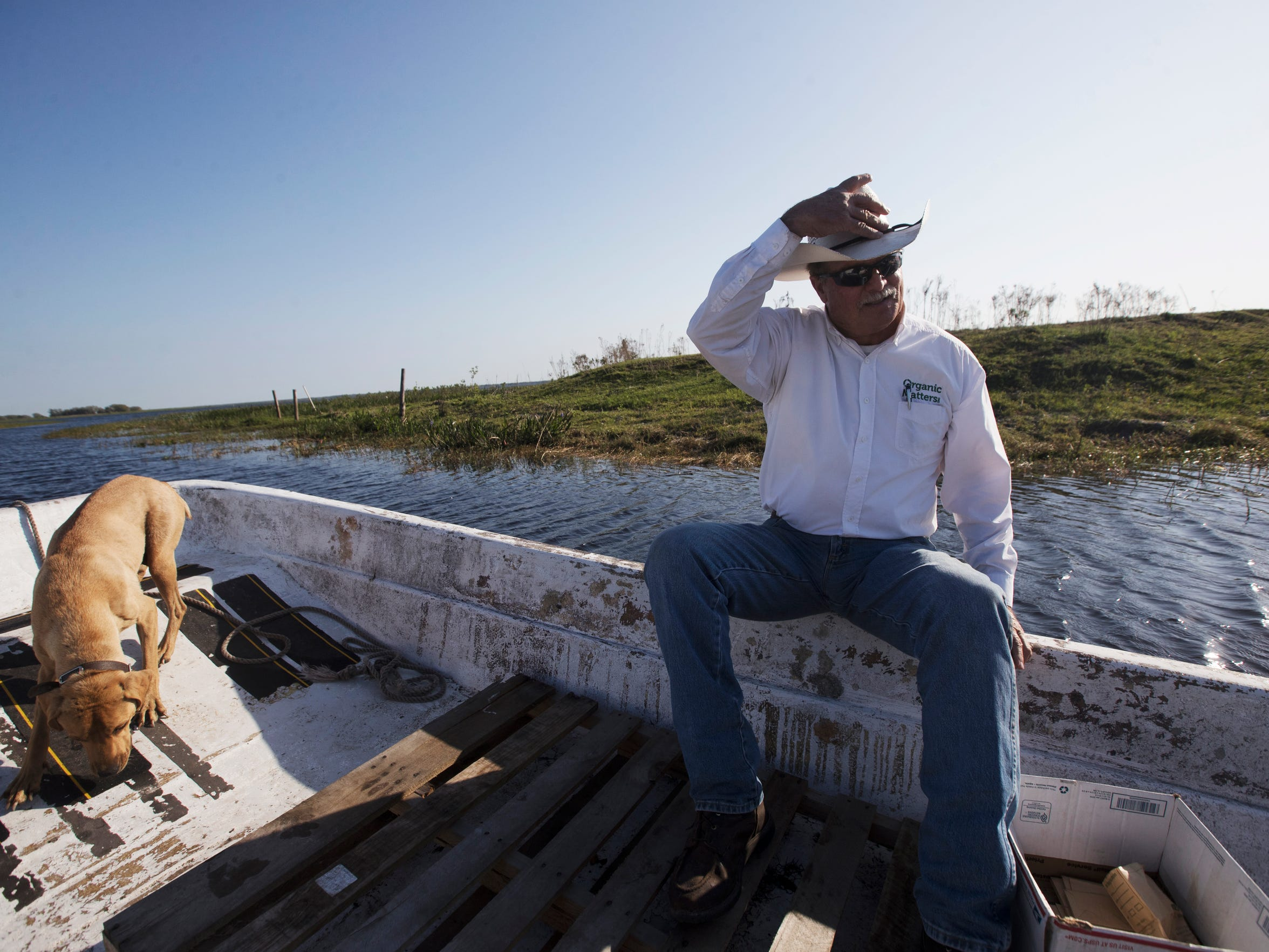Sixth generation rancher, Carey Lightsey gets a ride to Brahma Island on Lake Kissimmee. Lightsey owns the island and leases it out hunters and outdoor enthusiasts.