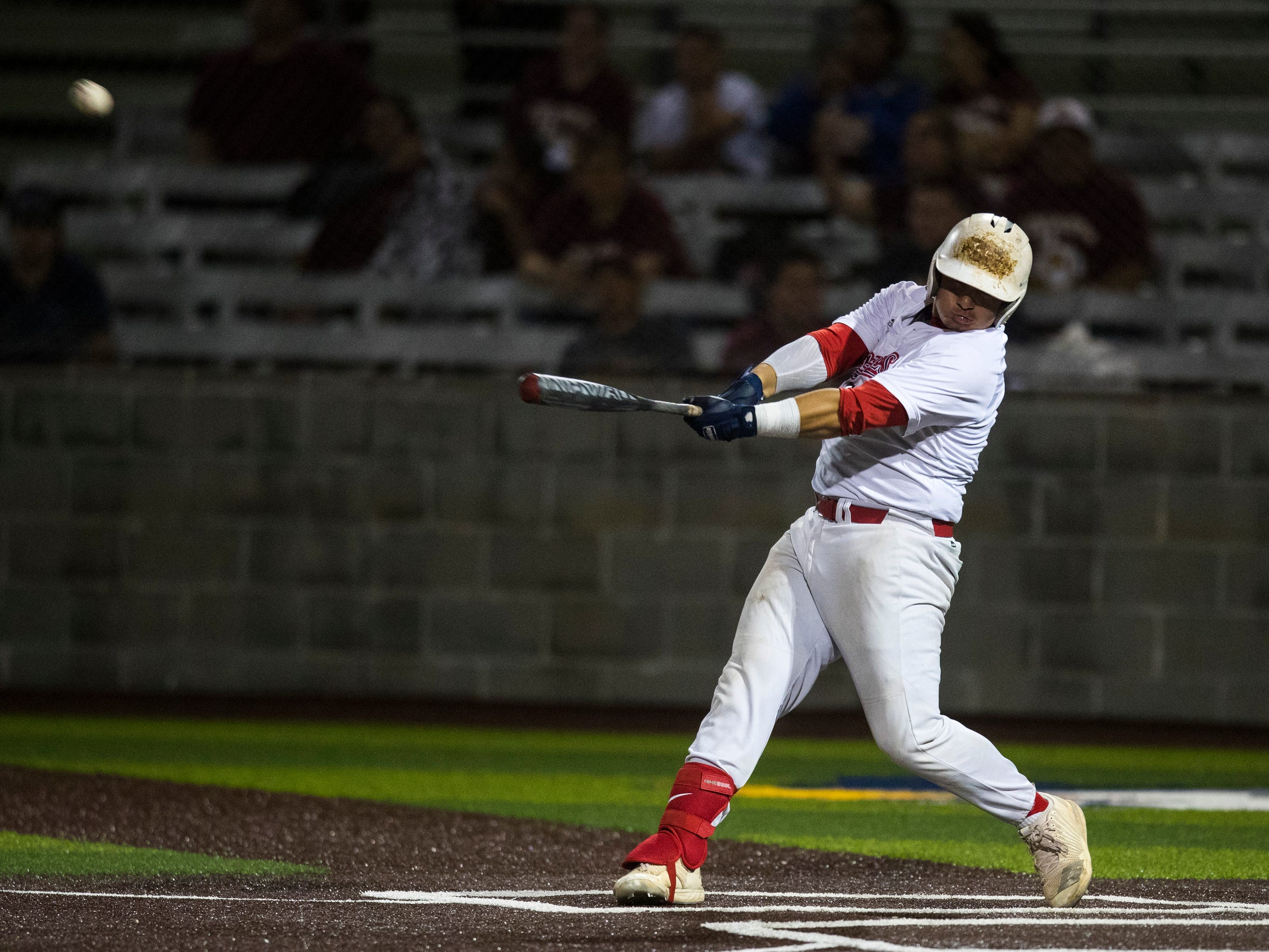 Veterans Memorial's Jesus Rodriguez hits a walk off home run during their playoff game against San Antonio Harlandale on Friday, May 4, 2018 at Cabaniss Baseball Field.