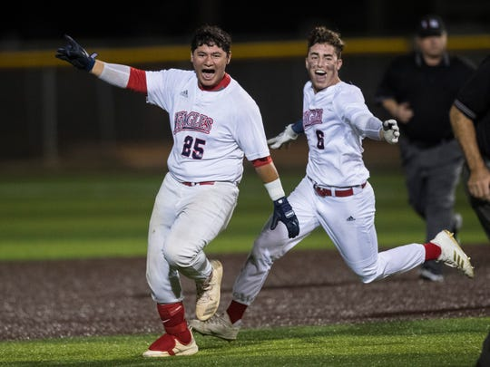 Veterans Memorial's Jesus Rodriguez celebrates after hitting a walk off home run during their playoff game against San Antonio Harlandale on Friday, May 4, 2018 at Cabaniss Baseball Field.