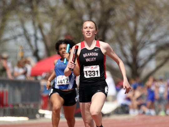 Krista Bickley of Brandon Valley runs the anchor leg of the 4x200 relay on Saturday at the Howard Wood Relays in Sioux Falls.
