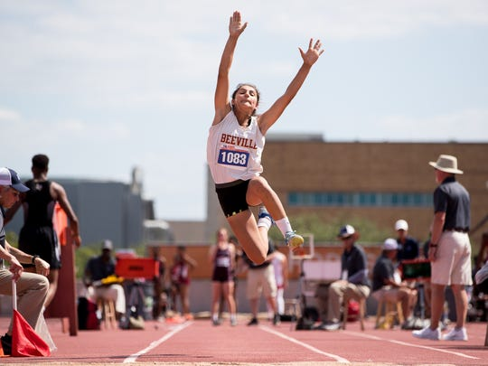 Beeville's Allie Estrada competes in the girls 4A long jump during the UIL State Track and Field meet at Mike A Myers Stadium in Austin Texas on Friday, May 11, 2018.