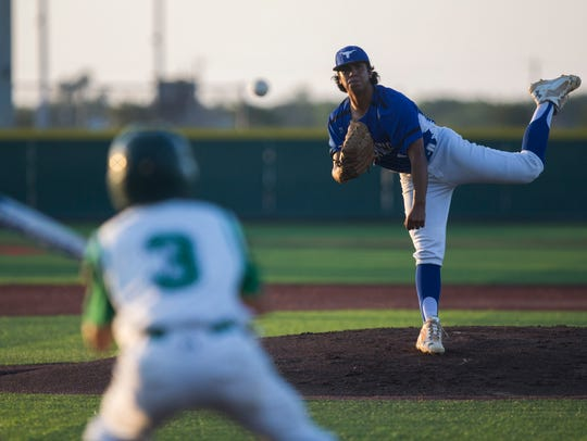 George West's Bisente Ganceres pitches against during