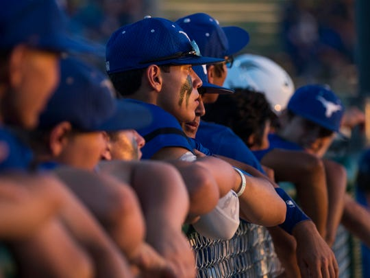 George West players watch a batter during their playoff game against Falfurrias on Friday, May 11, 2018 at Cabaniss Field.