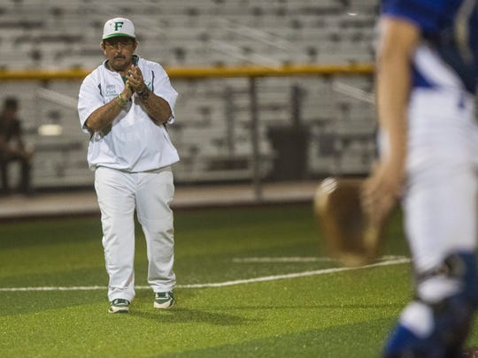 Falfurrias' head coach David C. Salinas during their