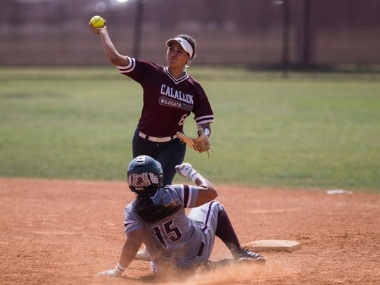 Calallen's Kat Flores attempts to turn a double play