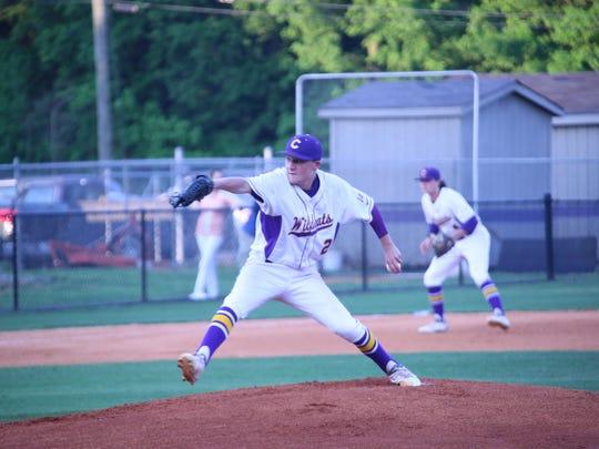 Clarksville High pitcher Gavin Hams throws a pitch