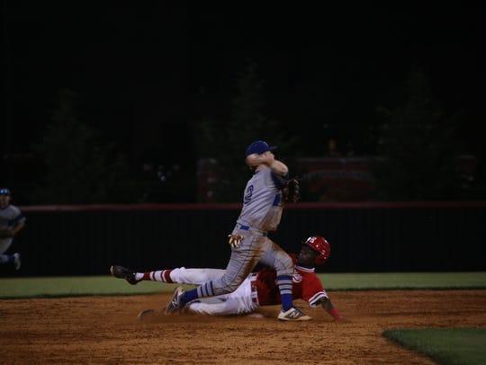 Rossview's Elijah Pleasants slides into second base