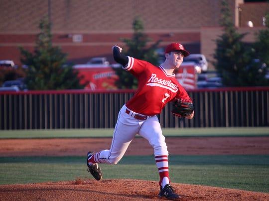 Rossview pitcher Austin Jackson throws the ball toward