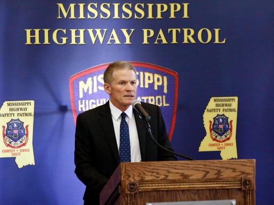 Mississippi Department of Public Safety Commissioner Marshall Fisher speaks during a fallen officers memorial service honoring the Department of Public Safety lawmen killed in the line of duty, Tuesday, May 15, 2018, at department headquarters in Jackson, Miss. (AP Photo/Rogelio V. Solis)