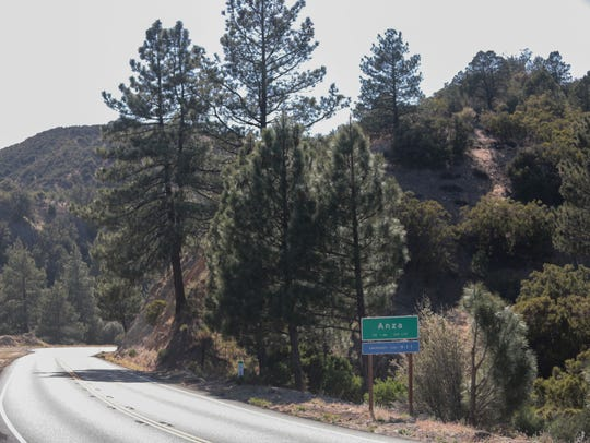 A sign along Highway 371 marks the entry into Anza