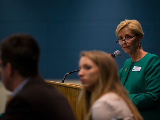 Libby Averyt, chief development officer for United Way of the Coastal Bend, speaks on issues of government transparency during the Let the Sun Shine forum Thursday, May 17, 2018, at Texas A&M University-Corpus Christi. Averyt, who spent a more than 30-year career in journalism at the Caller-Times, once was arrested for refusing to answer questions about unpublished material from her interviews with a murder suspect. She was held in contempt of court and spent the weekend in jail.