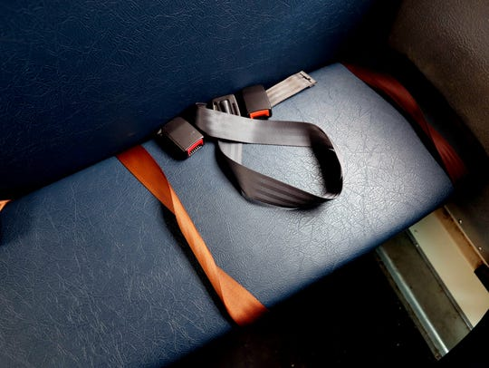 Seat belts on a Rockland BOCES school bus, photographed