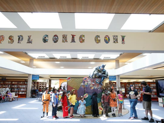Children visited Palm Springs Library during the library's Comic Con event. Palm Springs library partnered with Palm springs Comic Con to bring the comic experience on May 19, 2018.