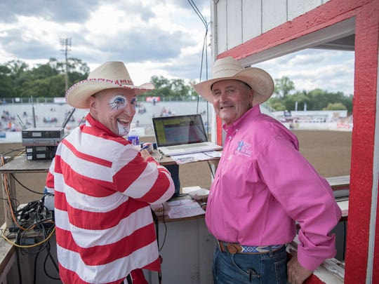 Rodeo clown CrAsh Cooper and music director Chuck Lopeman pose while preparing for Friday's performance at the Redding Rodeo.