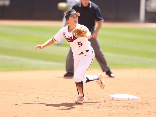 Sophomore second baseman Reyna Carranco, shown tracking a ball during a win over Grand Canyon University, helped the University of Arizona softball team reach the NCAA Division I Super Regionals. Carranco is an Oxnard High graduate.