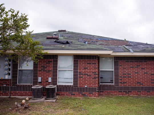 Roof damage from Hurricane Harvey has yet to be repaired at the Rincon Point Apartments in Taft, Texas.