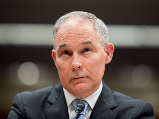 In this May 16, 2018 photo, Environmental Protection Agency Administrator Scott Pruitt appears before a Senate Appropriations subcommittee on the Interior, Environment, and Related Agencies on budget on Capitol Hill in Washington.