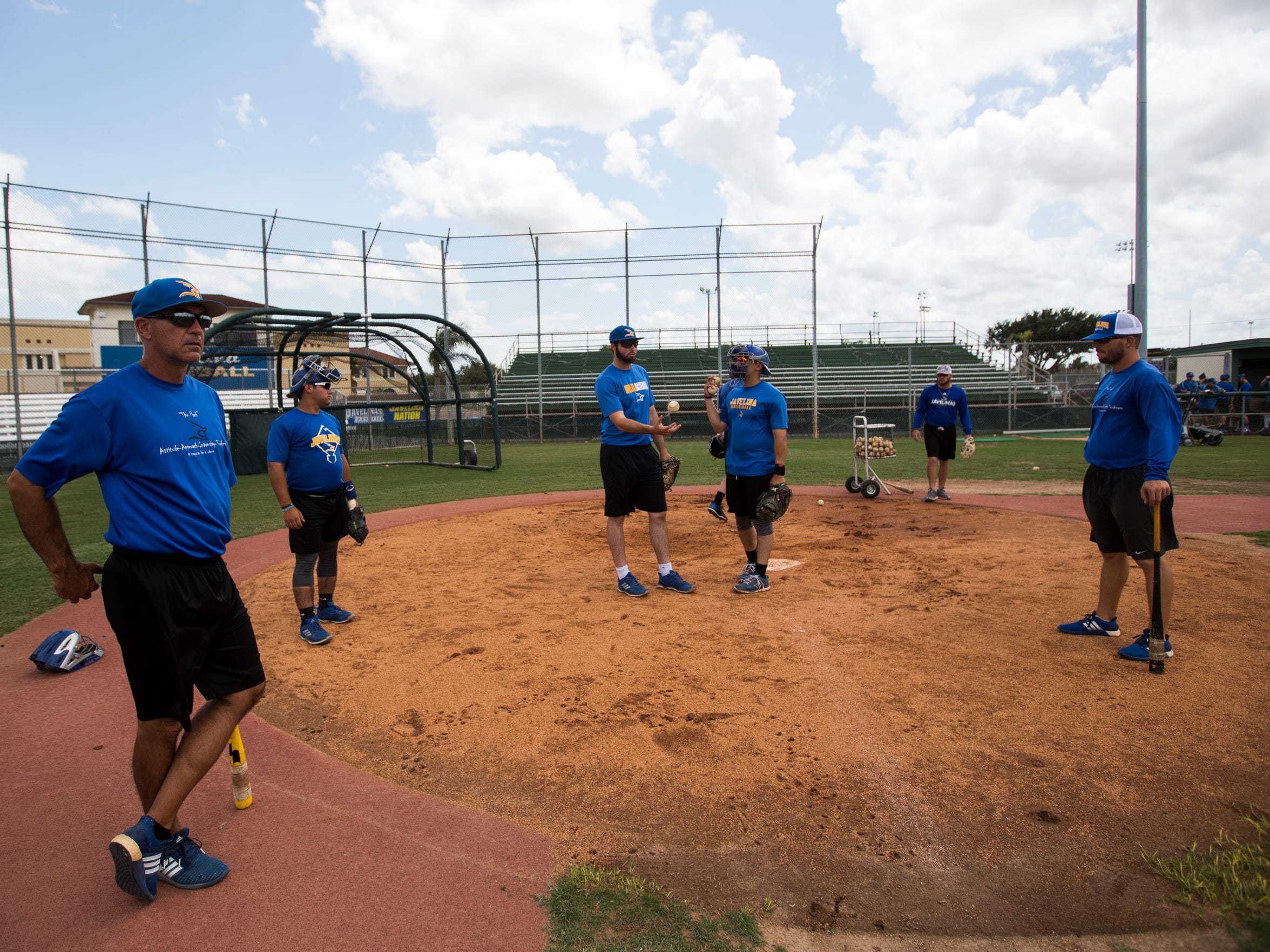 Texas A&M-Kingsville players practice before they leave