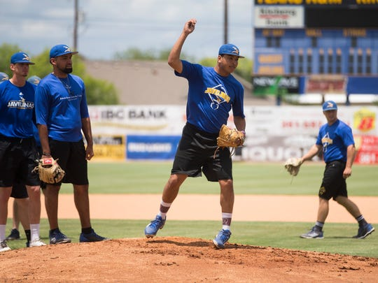 Texas A&M-Kingsville's Isaiah Lybarger works on drills during their practice before they leave for the NCAA Division II World Series in North Carolina, Wednesday, May 23, 2018.