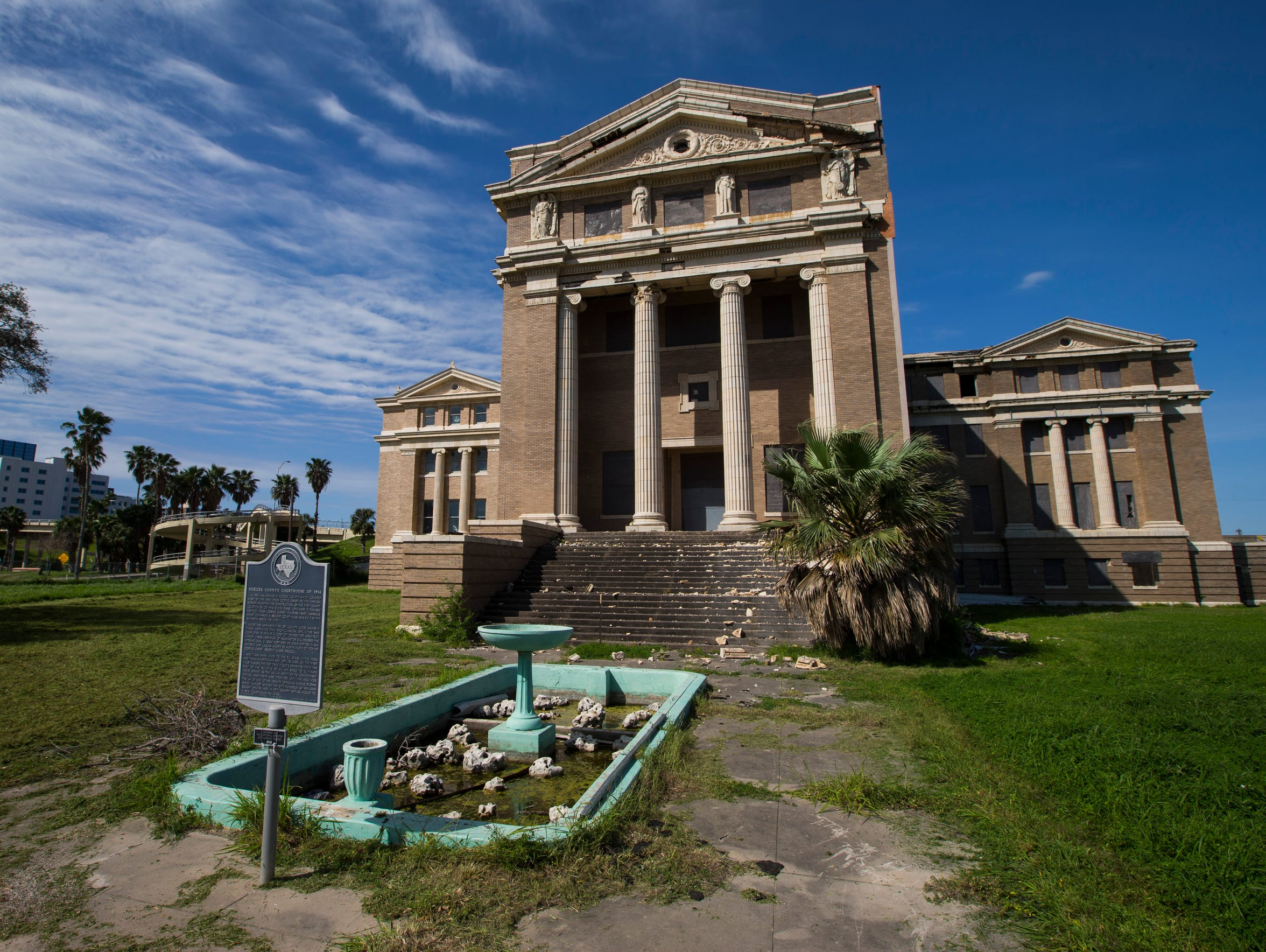 The former Nueces County Courthouse sits vacant on