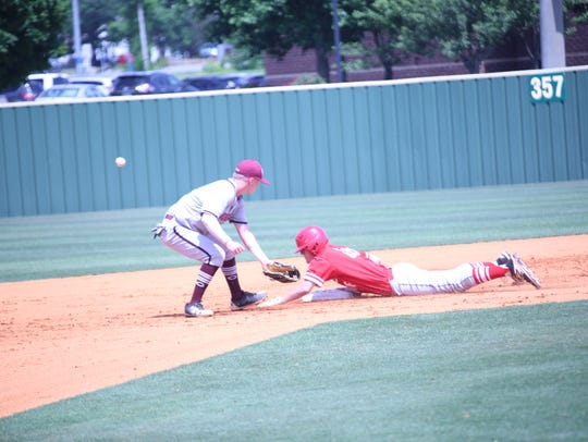Rossview runner Logan Prairie slides into second base