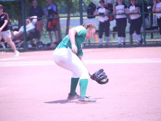 Houston County pitcher Kaya Baker fields a ground ball