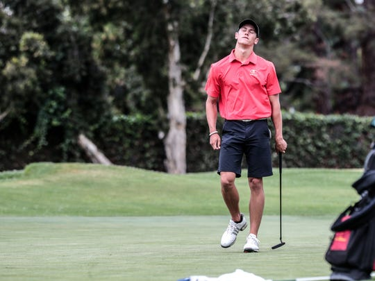 Palm Desert's Charlie Reiter reacts to a miss putt on 10 during 2018 CIF State Boys High School Championship played at San Gabriel Country Club on Wednesday, May 30, 2018 in San Gabriel.