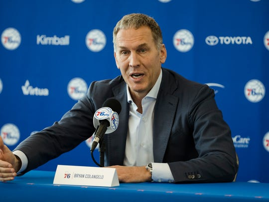 Philadelphia 76ers President of Basketball Operations Bryan Colangelo speaks with members of the media during a news conference at the NBA basketball team's practice facility in Camden, N.J., Friday, May 11, 2018. (AP Photo/Matt Rourke) ORG XMIT: NJMR106