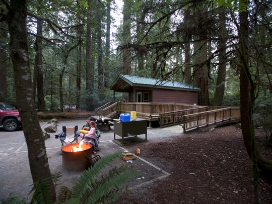The cabins at Jedediah Smith Redwoods State Park  also