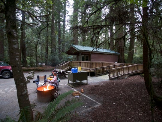 The cabins at Jedediah Smith Redwoods State Park  also have a picnic area and campfire ring.