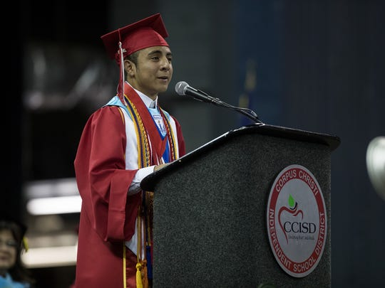 Ray High Schools 2018 valedictorian Juan De Le Garza gives his speech 2018 graduation ceremony at the American Bank Center on Saturday, June 2, 2018.