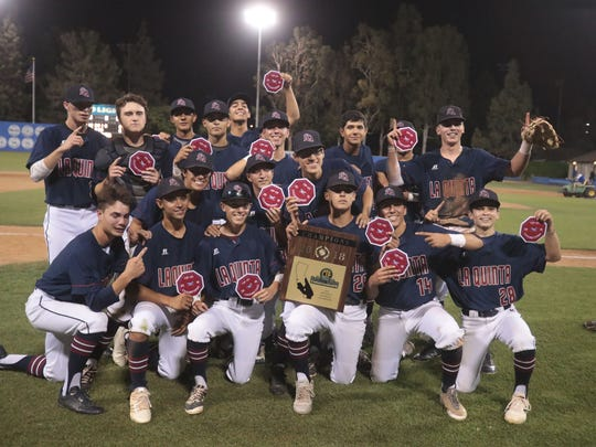 La Quinta pose for photos after beating Monrovia 6-5 in the CIF SS Div 4 Championship game on Saturday, June 2, 2018 at UC Riverside.