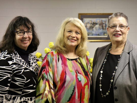 Sue Shelton White Award Winners Beth Bates (2017) and Mary Jo Middlebrooks (2018), pictured with Jacque Hillman (center) attended the reception honoring Sue Shelton White on May 16, 2018, at the Jackson-Madison County Library.